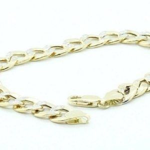 10K Yellow Gold Curb Bracelet Lobster Clasp 9""